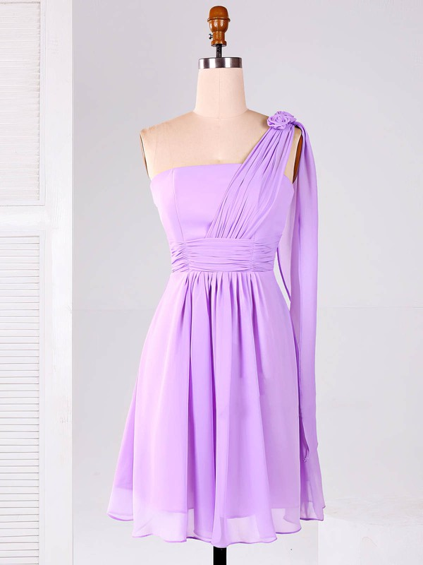 One Shoulder Chiffon Ruffles Unique Lilac Short/Mini Bridesmaid Dresses #PDS01012866