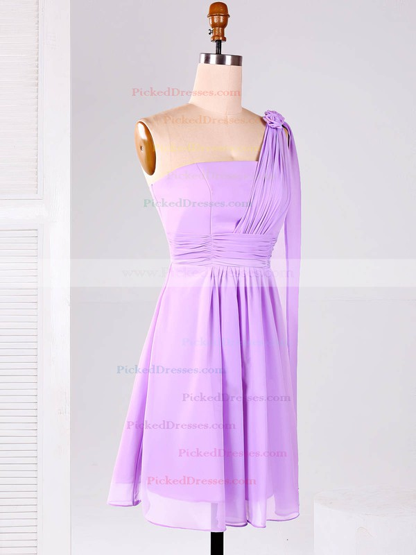 One Shoulder Chiffon Ruffles Unique Lilac Short/Mini Bridesmaid Dresses #PDS01012866