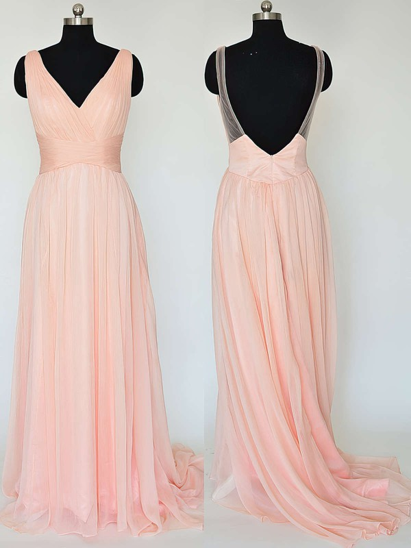 V-neck Pretty Chiffon Ruffles Sweep Train Backless Bridesmaid Dresses #PDS01012867