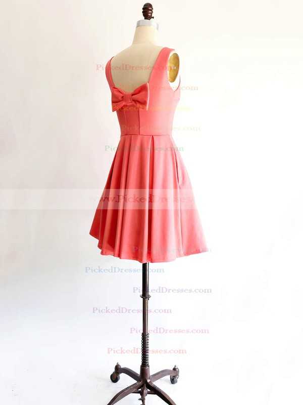 Scoop Neck Satin with Bow Affordable Short/Mini Bridesmaid Dresses #PDS01012869
