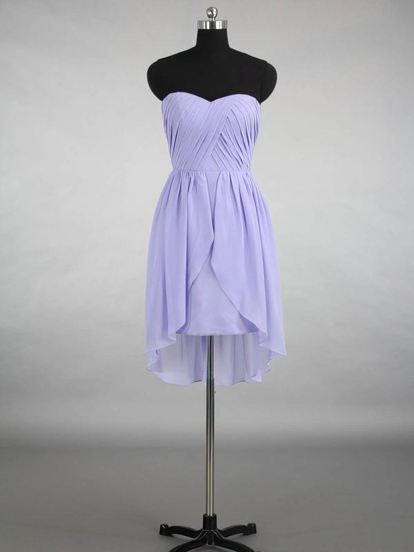 Inexpensive Sweetheart Chiffon Ruffles Asymmetrical Bridesmaid Dresses #PDS01012870
