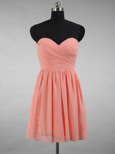 A-line Sweetheart Chiffon Ruffles Simple Short/Mini Bridesmaid Dresses #PDS01012871