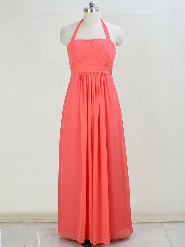 Promotion Chiffon Floor-length Ruffles Halter Bridesmaid Dresses #PDS01012873