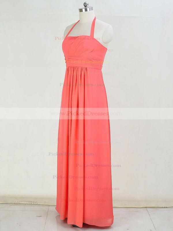 Promotion Chiffon Floor-length Ruffles Halter Bridesmaid Dresses #PDS01012873