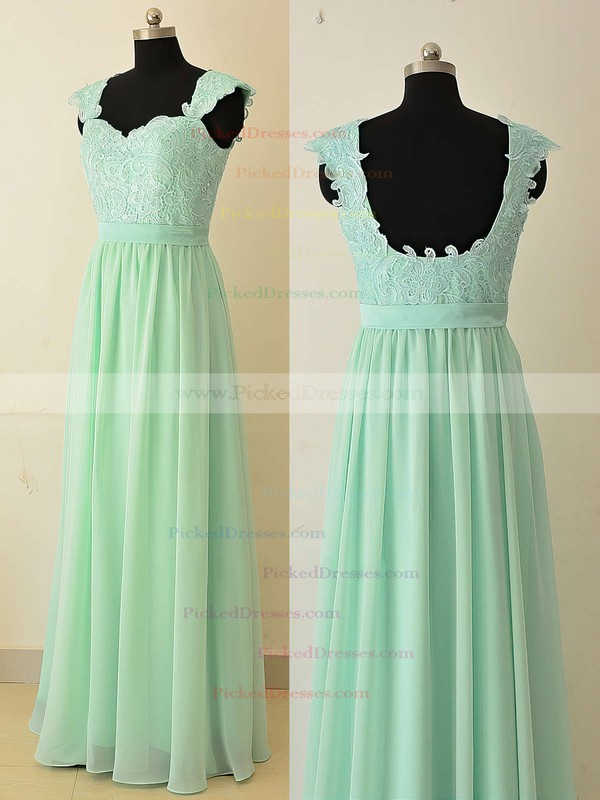 Sweetheart Chiffon Appliques Lace Sage Floor-length Classy Bridesmaid Dresses #PDS01012874