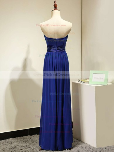 A-line Chiffon Sashes / Ribbons Discounted Royal Blue Strapless Bridesmaid Dresses #PDS01012875