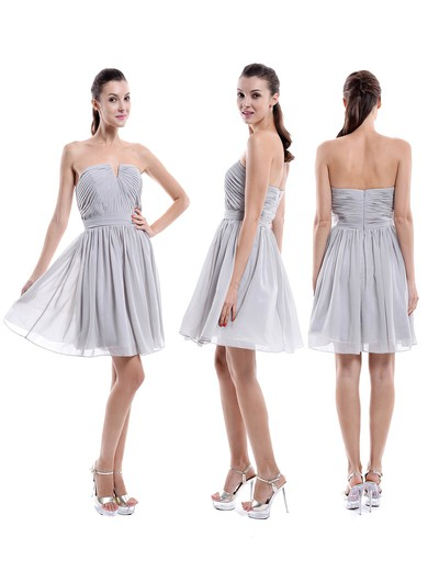 A-line Perfect Chiffon Short/Mini Ruched Strapless Bridesmaid Dresses #PDS01012876