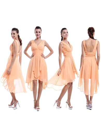 V-neck Chiffon Ruffles Different Backless Asymmetrical Bridesmaid Dresses #PDS01012877