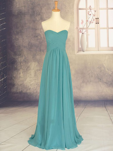 Discount Sweetheart Chiffon Ruffles Sweep Train Bridesmaid Dresses #PDS01012878
