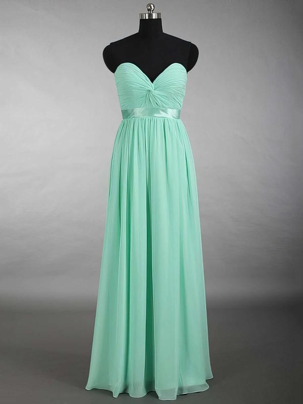 New Sweetheart Chiffon Sashes / Ribbons Floor-length Sage Bridesmaid Dress #PDS01012879