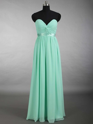 New Sweetheart Chiffon Sashes / Ribbons Floor-length Sage Bridesmaid Dress #PDS01012879