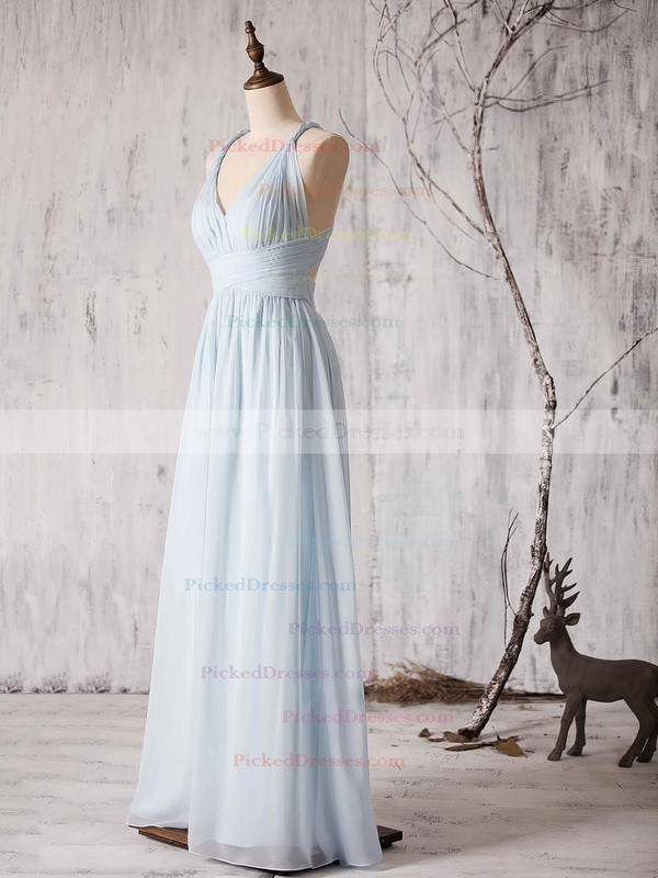 Chiffon Floor-length Ruffles Latest Backless V-neck Bridesmaid Dress #PDS01012880