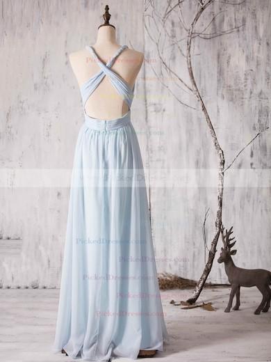 Chiffon Floor-length Ruffles Latest Backless V-neck Bridesmaid Dress #PDS01012880