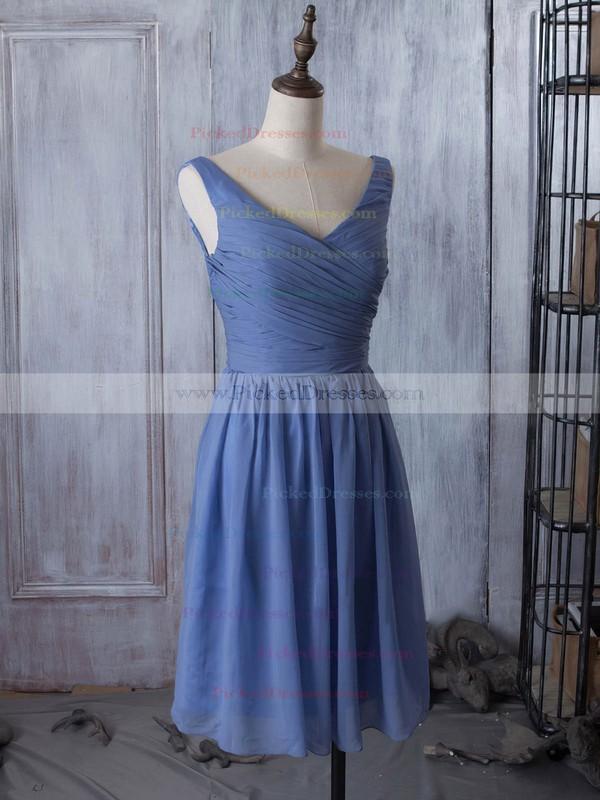 V-neck Chiffon Ruched Popular Knee-length Bridesmaid Dress #PDS01012881