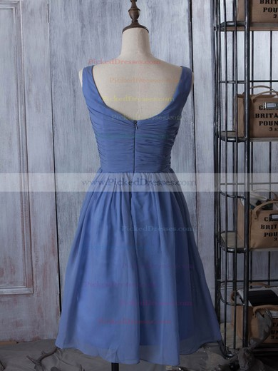 V-neck Chiffon Ruched Popular Knee-length Bridesmaid Dress #PDS01012881