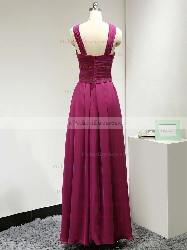 V-neck Chiffon Ruched A-line Exclusive Long Bridesmaid Dress #PDS01012882