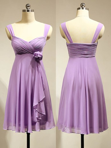Cute Empire Chiffon Flower(s) Lavender Short/Mini Bridesmaid Dress #PDS01012883