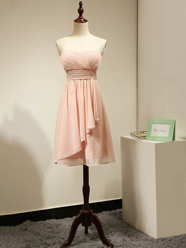 Sweetheart Chiffon Ruched Original Pink Short/Mini Bridesmaid Dress #PDS01012884