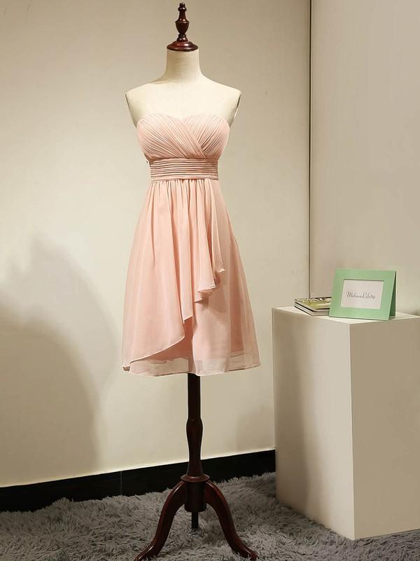 Sweetheart Chiffon Ruched Original Pink Short/Mini Bridesmaid Dress #PDS01012884