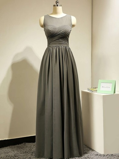 Scoop Neck Gorgeous Chiffon Tulle Ruffles Floor-length Gray Bridesmaid Dress #PDS01012885