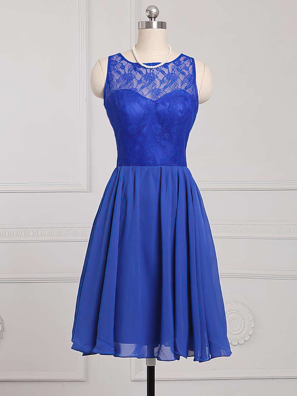 Boutique Royal Blue Scoop Neck Chiffon Lace Knee-length Bridesmaid Dress #PDS01012886