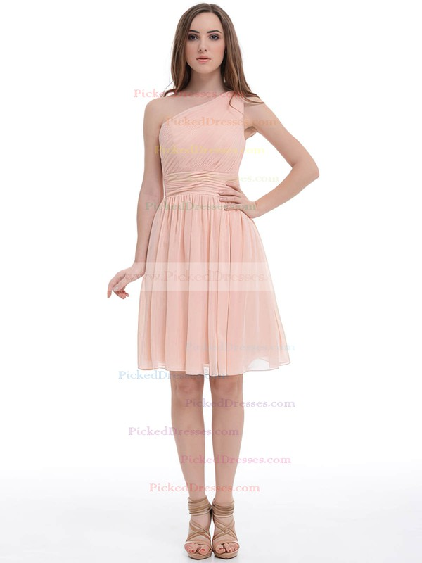 One Shoulder Prettiest Chiffon Ruched Pink Knee-length Bridesmaid Dress #PDS01012887