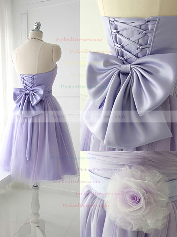 Strapless Satin Tulle Bow Good Lavender Short/Mini Bridesmaid Dress #PDS01012888
