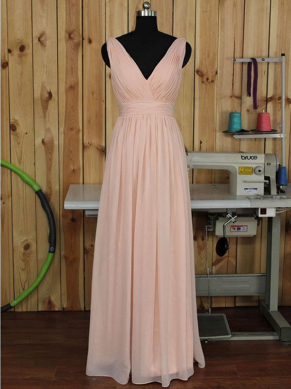 V-neck Floor-length Ruched Chiffon Pink Backless Bridesmaid Dress #PDS01012891