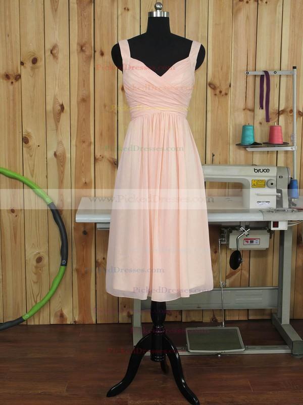 Pink V-neck Chiffon Ruffles Fashion Tea-length Bridesmaid Dress #PDS01012892