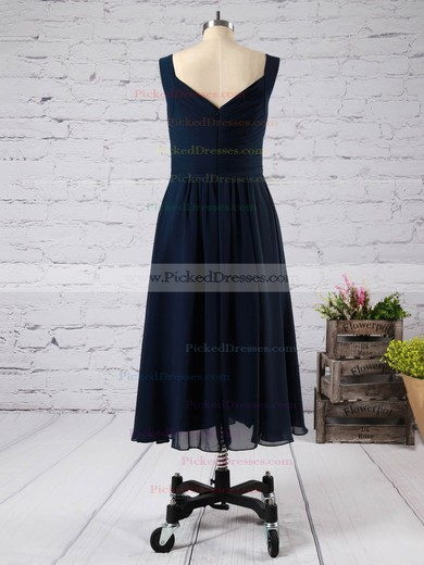 Pink V-neck Chiffon Ruffles Fashion Tea-length Bridesmaid Dress #PDS01012892