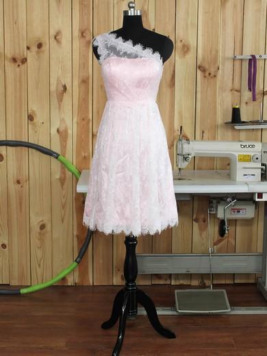 Famous One Shoulder Lace Ruffles Knee-length Bridesmaid Dress #PDS01012893