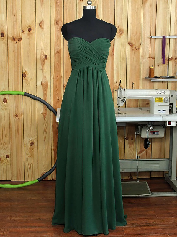 Sweetheart Chiffon Ruffles A-line Amazing Dark Green Bridesmaid Dress #PDS01012894