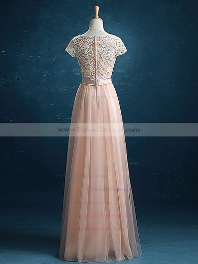 Junior Scoop Neck Lace Tulle Sashes / Ribbons Floor-length Short Sleeve Bridesmaid Dress #PDS01012895
