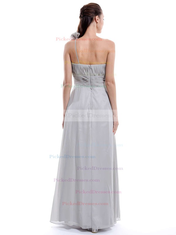 One Shoulder Chiffon Flower(s) Floor-length Hot Bridesmaid Dress #PDS01012896