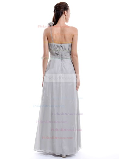 One Shoulder Chiffon Flower(s) Floor-length Hot Bridesmaid Dress #PDS01012896