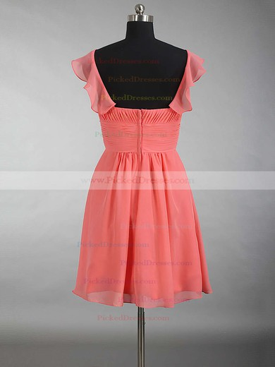 V-neck Chiffon Ruffles Beautiful Watermelon Short/Mini Bridesmaid Dress #PDS01012897
