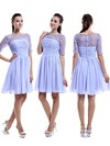Nice Scoop Neck Chiffon Tulle Appliques Lace 1/2 Sleeve Knee-length Bridesmaid Dress #PDS01012898