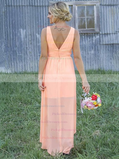 Asymmetrical A-line Scoop Neck Chiffon Appliques Lace Different Bridesmaid Dresses #PDS01012899
