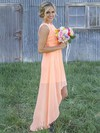 Asymmetrical A-line Scoop Neck Chiffon Appliques Lace Different Bridesmaid Dresses #PDS01012899