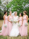 Scoop Neck A-line Chiffon with Ruffles Floor-length Beautiful Bridesmaid Dresses #PDS01012900