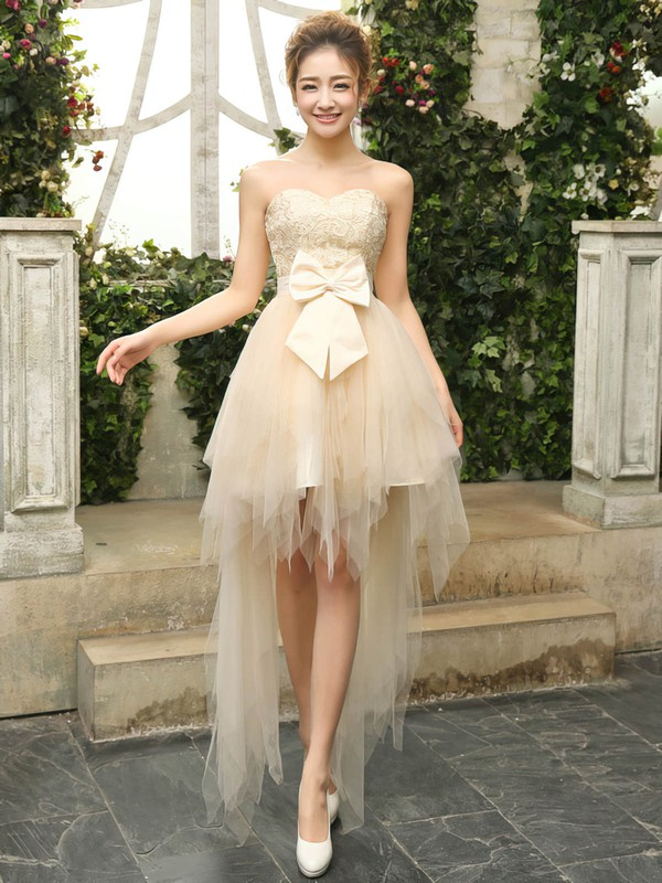 Pretty A-line Sweetheart Lace Tulle with Bow Asymmetrical Bridesmaid Dresses #PDS01012901