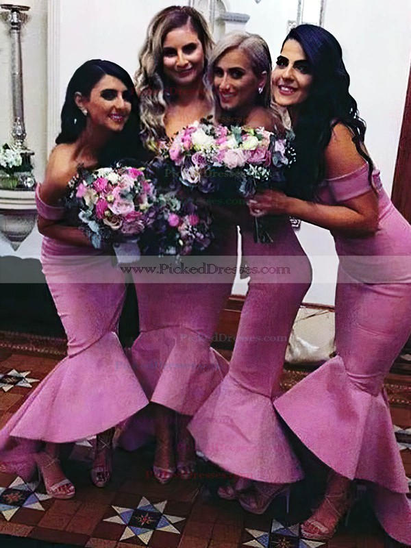 Trumpet/Mermaid Asymmetrical Elastic Woven Satin Sashes / Ribbons Modern Off-the-shoulder Bridesmaid Dress #PDS01012902