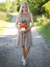 Knee-length A-line Scoop Neck Lace Chiffon Sashes / Ribbons Beautiful Bridesmaid Dresses #PDS01012903