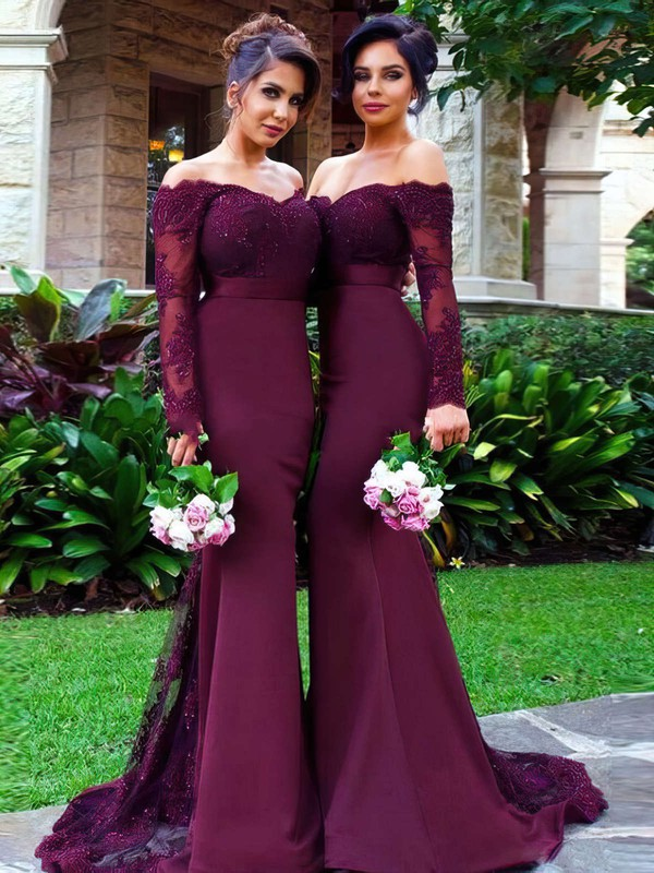 Trumpet/Mermaid Tulle Silk-like Satin Sweep Train Appliques Lace Off-the-shoulder Long Sleeve Bridesmaid Dresses #PDS01012904