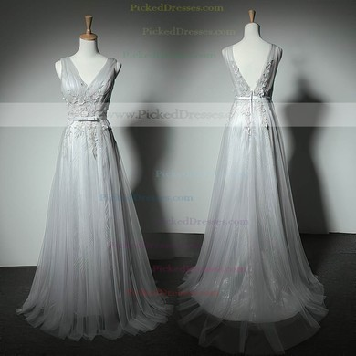 Elegant A-line Tulle with Appliques Lace Floor-length V-neck Bridesmaid Dresses #PDS01012905