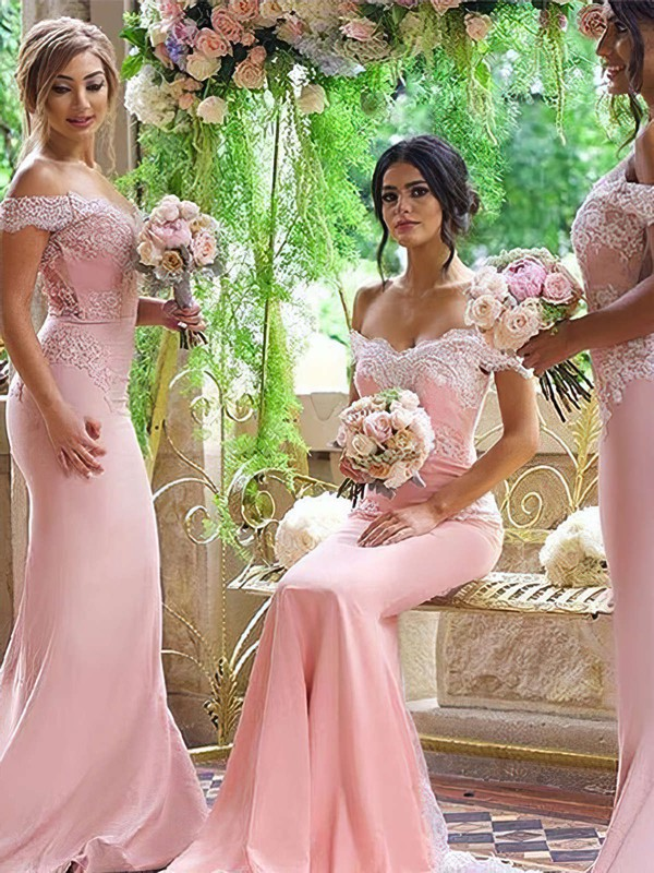 Off-the-shoulder Silk-like Satin Sweep Train Appliques Lace Trumpet/Mermaid Backless Bridesmaid Dresses #PDS01012906