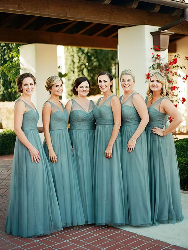 V-neck A-line Tulle with Ruffles Floor-length Modest Bridesmaid Dresses #PDS01012907