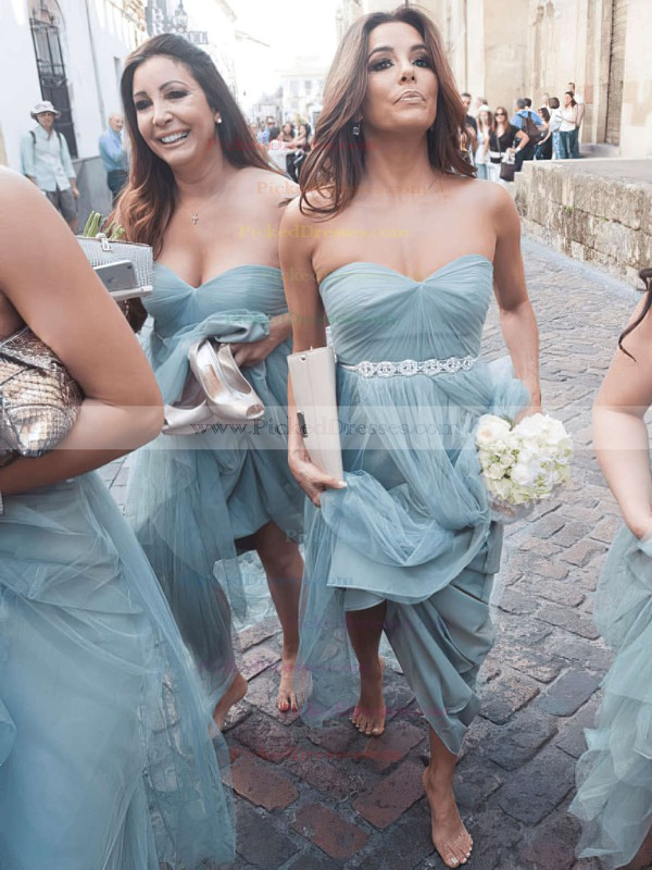 A-line Sweetheart Tulle with Beading Floor-length Glamorous Bridesmaid Dresses #PDS01012908