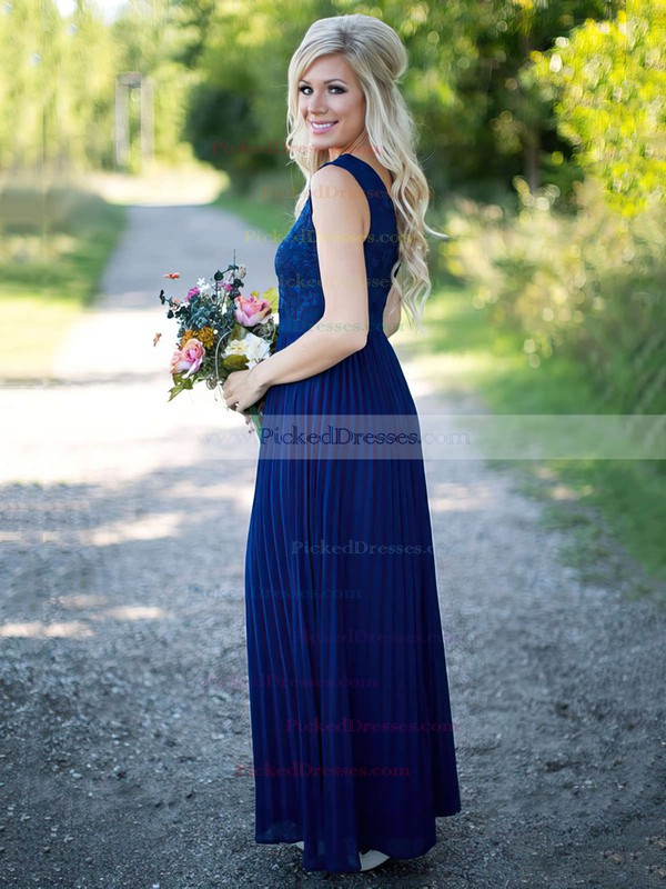 A-line Floor-length V-neck Lace Chiffon with Pleats Discounted Bridesmaid Dresses #PDS01012909
