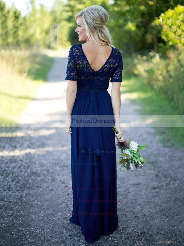 Graceful A-line Scoop Neck Lace Chiffon Sequins Floor-length Short Sleeve Bridesmaid Dress #PDS01012910